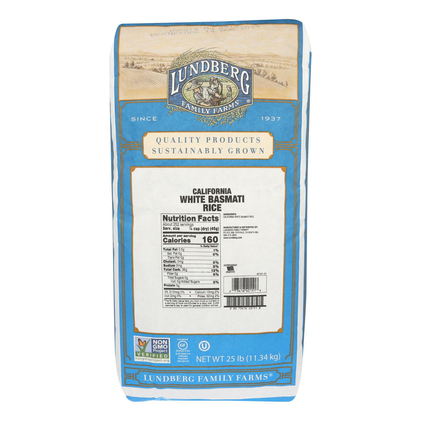 Lundberg Family Farms California White Basmati Rice - Case of 25 lbs %count(alt)