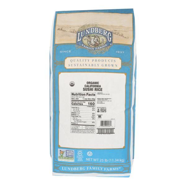 Lundberg Family Farms Organic Sushi Short Grain White Rice - Case of 25 lbs %count(alt)