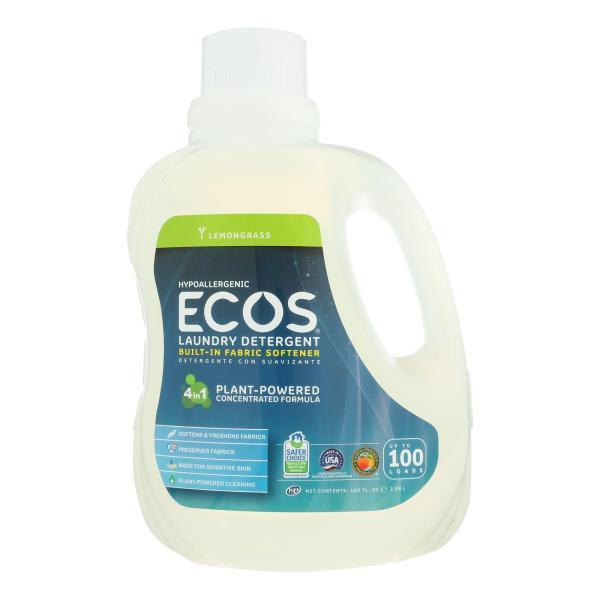 Earth Friendly Ecos Ultra 2x All Natural Laundry Detergent - Lemongrass - Case of 4 - 100 fl oz %count(alt)