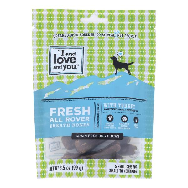 I And Love And You Dog Treats, Fresh All Rover Breath Bones - Case of 6 - 5 CT %count(alt)