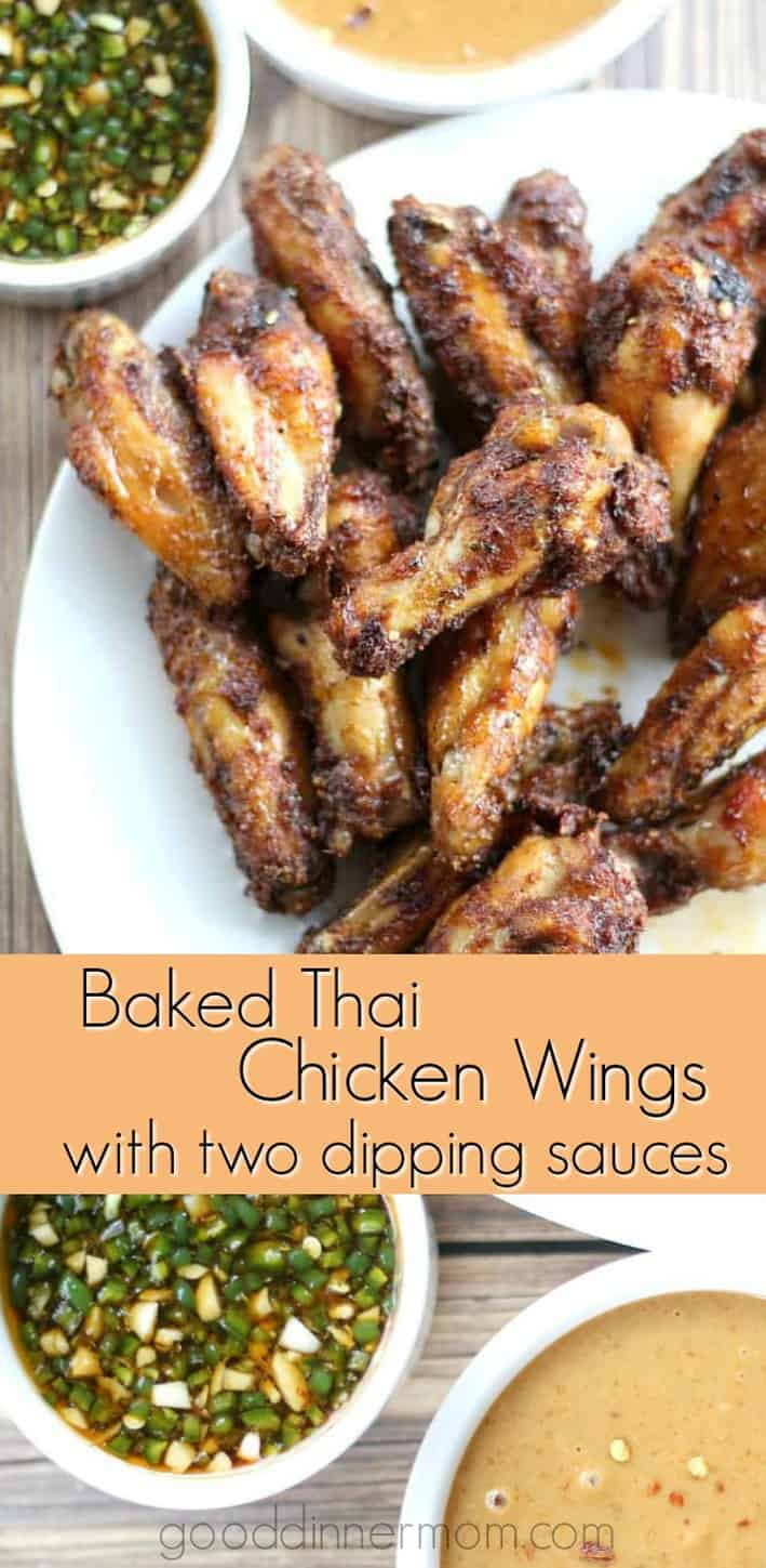Baked Thai Chicken Wings are seasoned to perfection, served with a hot Thai Wing Sauce and Thai Peanut Sauce. #recipes #chickenwings