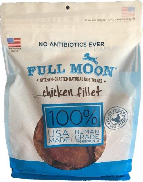 front view full moon chicken jerky fillet dog treat