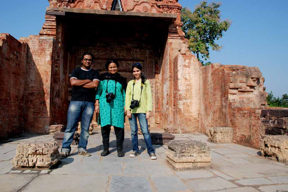 The Eicher Team (L - R) at the Lakshman Temple: Bodhisattva Sen Roy, Swati Mitra, Nidhi Dhingra