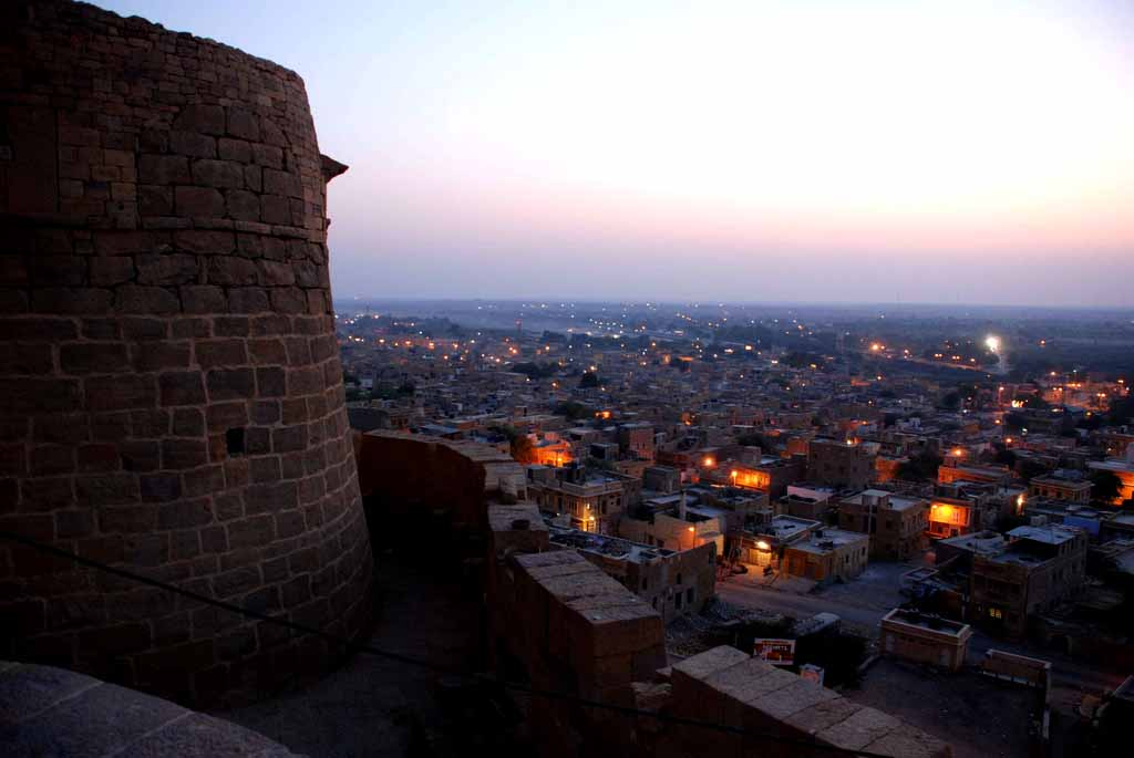 The sun rises over a sleepy Jaisalmer. Photograph taken from the fort ramparts.