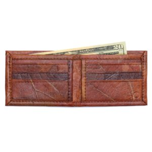 Brown Leaf Leather Bifold Wallet
