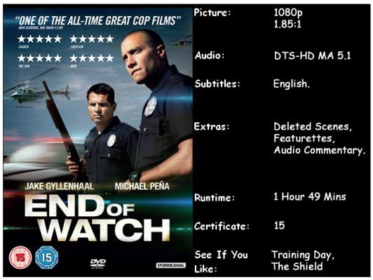 End of Watch Blu-ray disc info