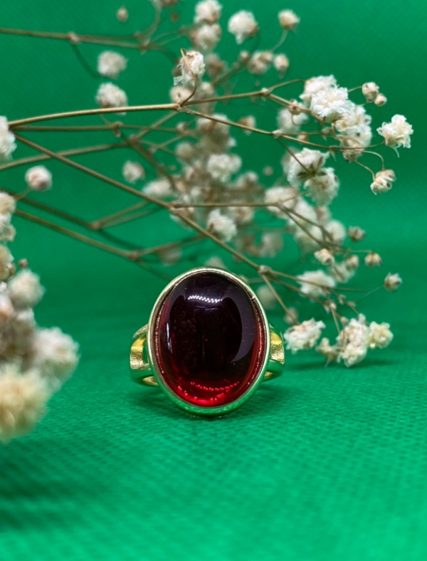 Natural Red Agate Stone Ring