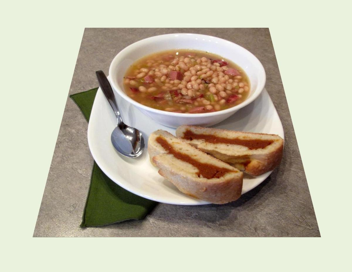 White Bean Soup with Pumpkin Pastry