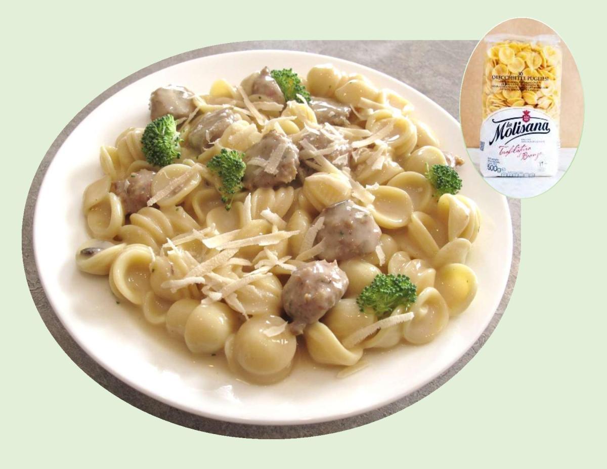 Orecchiette Pasta with Turkey Meatballs