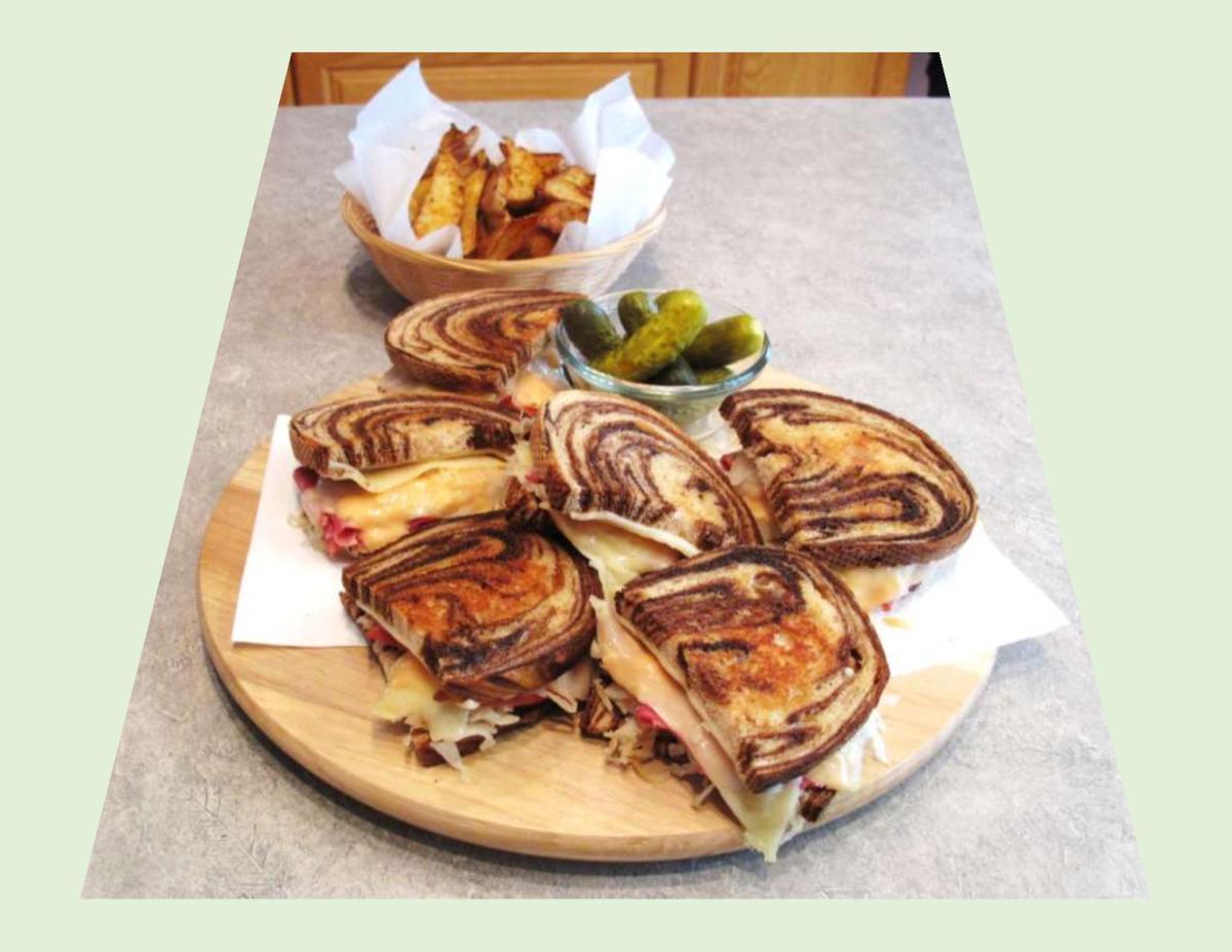 Classic Reuben Sandwich on Swirl Bread