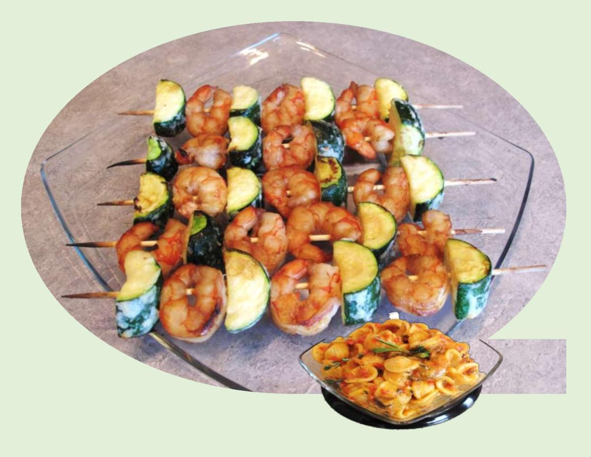Shrimp Kabobs with Orecchietti Pasta Salad