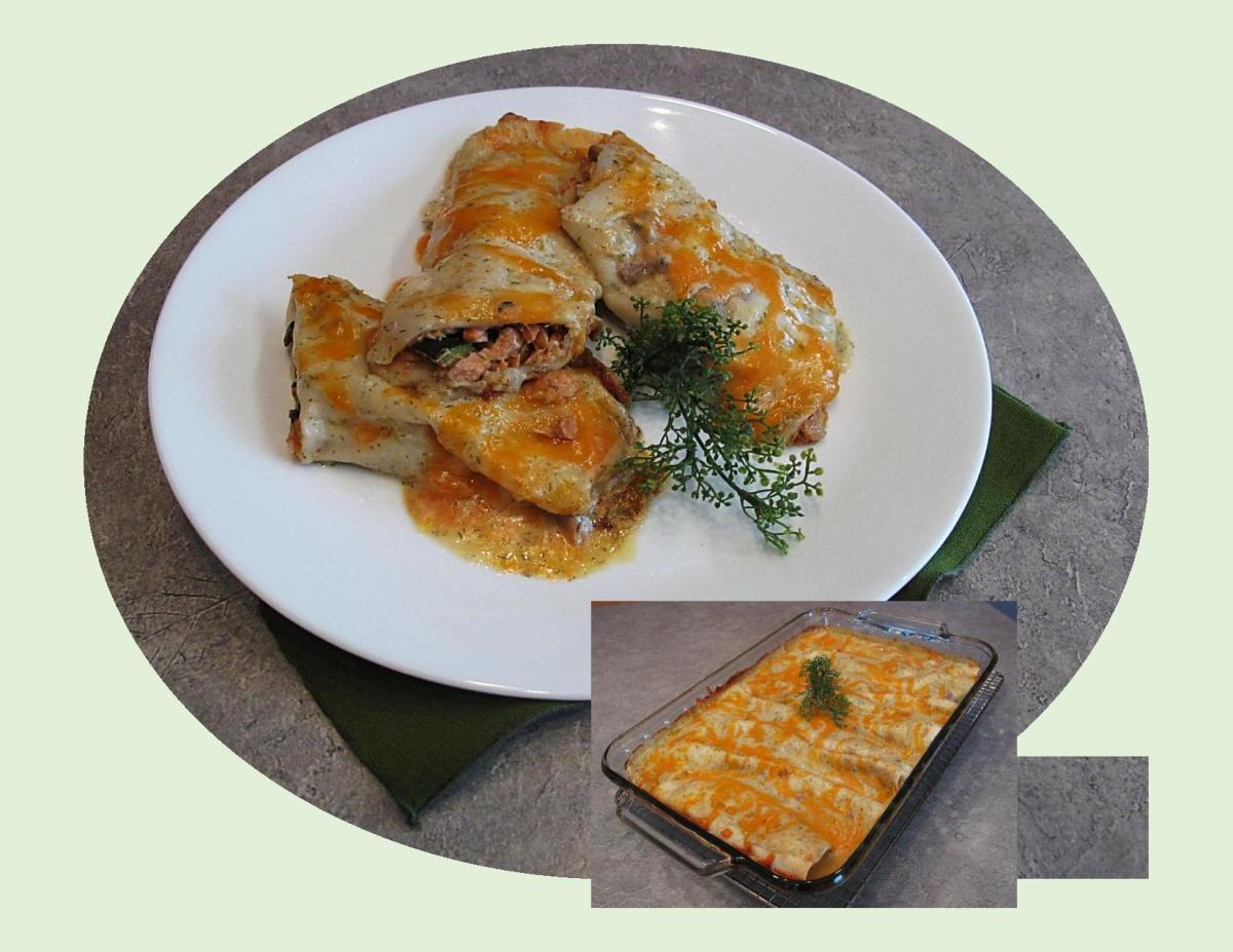 Salmon & Zucchini Enchiladas