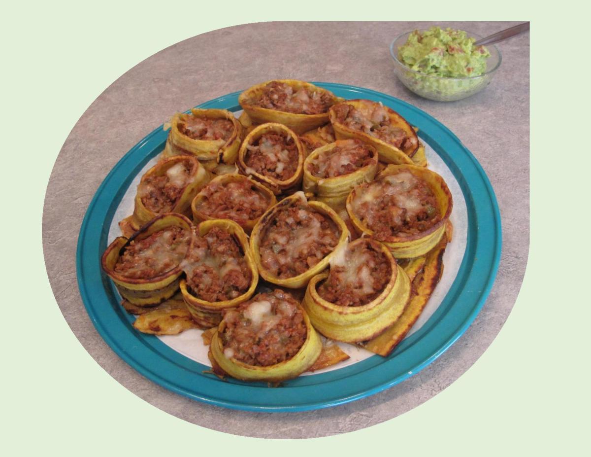 Plantain Lasagna Rolls w/ Guacamole
