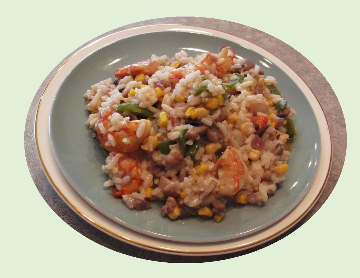 Sweet Corn Risotto w/ Sauteed Shrimp