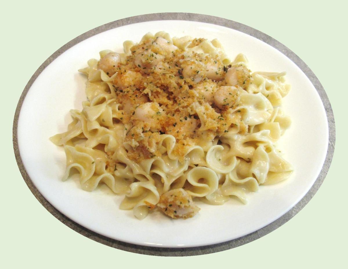 Parmesan Baked Scallops over Egg Noodles