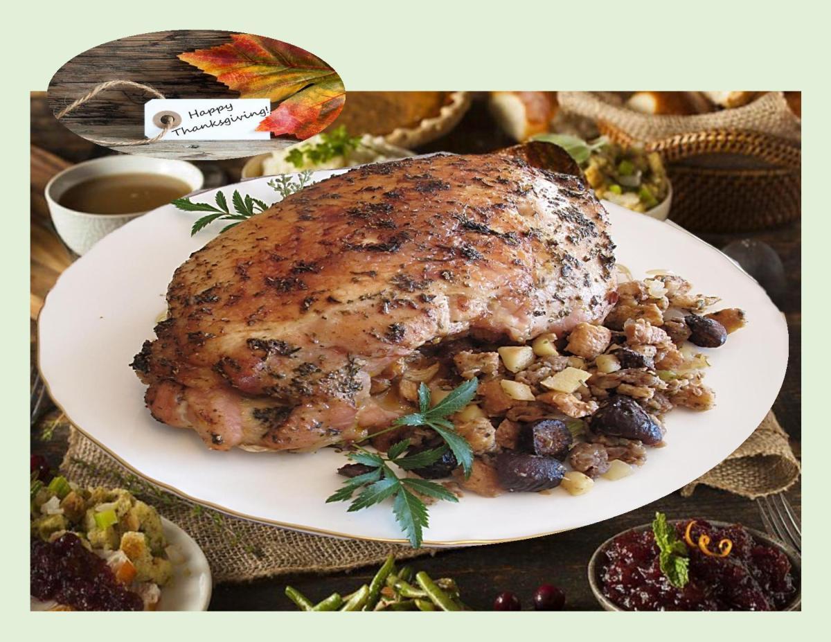 Roast Turkey Breast w/ Fig & Sausage Stuffing