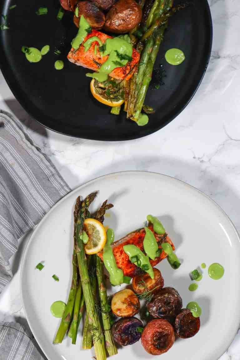 perfect salmon dish for two with avocado crema