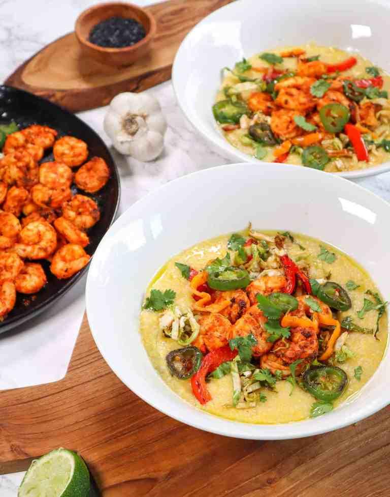 brunch with creamy polenta and cajun shrimp