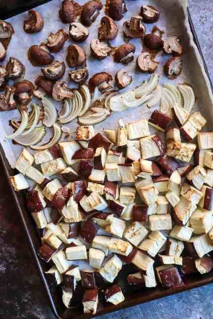 roasted eggplant and mushrooms for meatballs