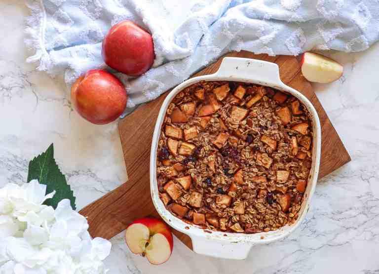 gluten free vegan apple cinnamon baked oatmeal
