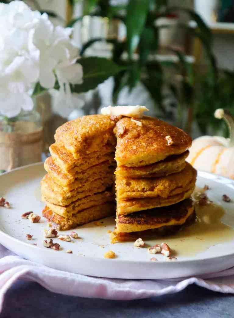 fluffy gluten free pumpkin pancakes vegan
