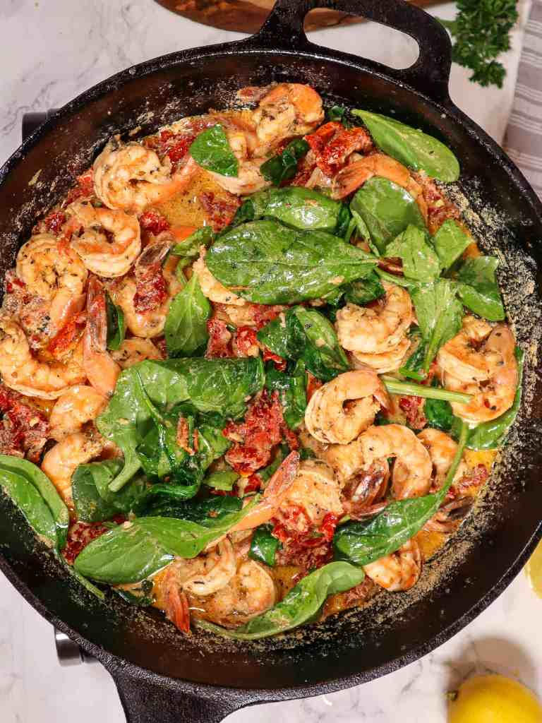 dairy free pasta sauce with shrimp spinach and sun dried tomatoes