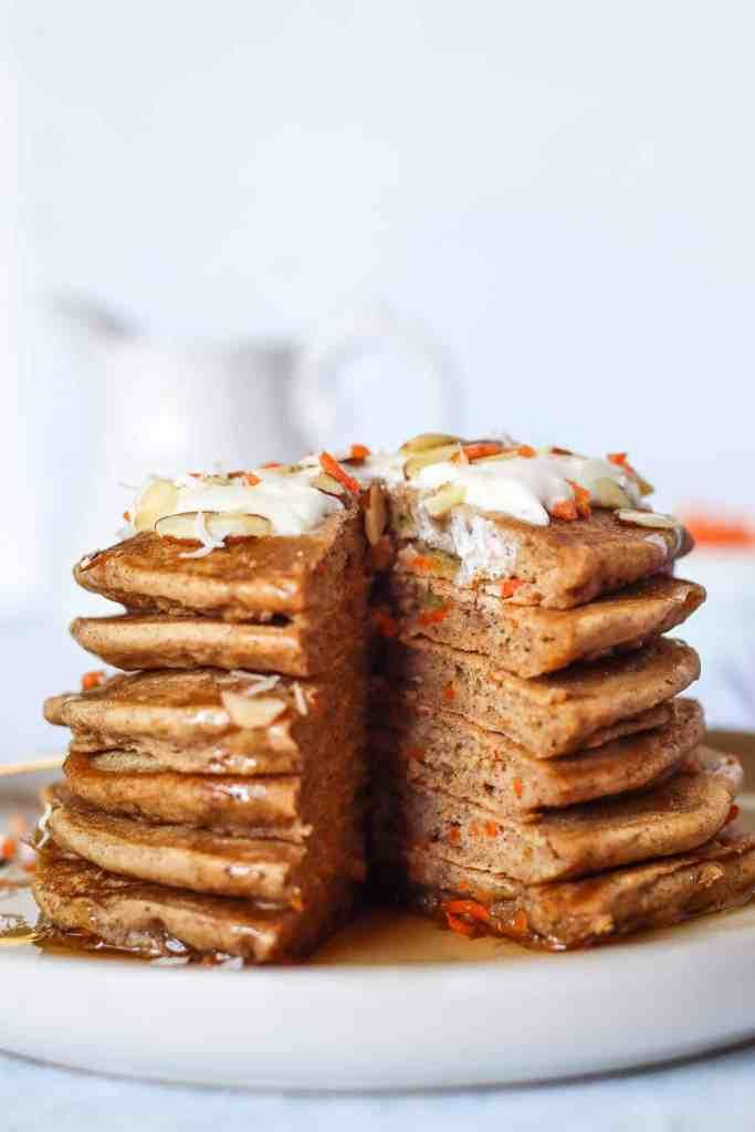 stack of gluten free carrot cake pancakes.