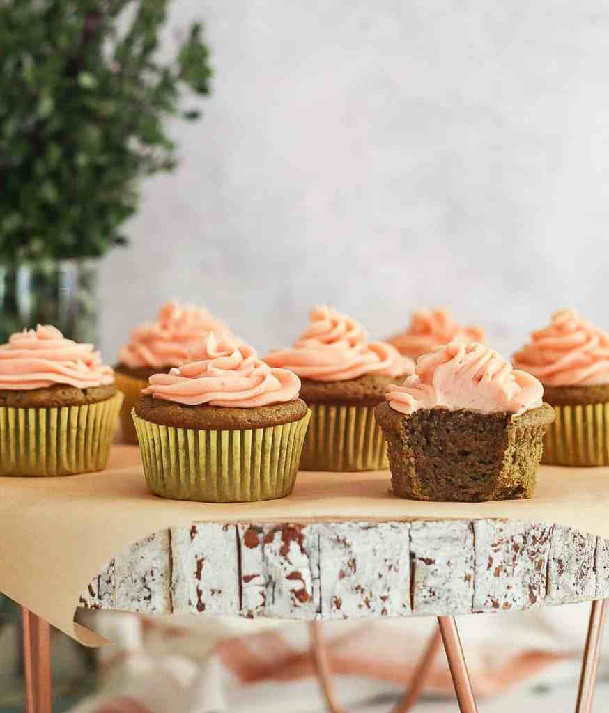 Almond Flour Matcha Cupcakes with Strawberry Buttercream
