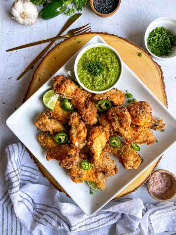 Gluten-Free-Fried-Chicken-with-side-of-chimichurri-sauce