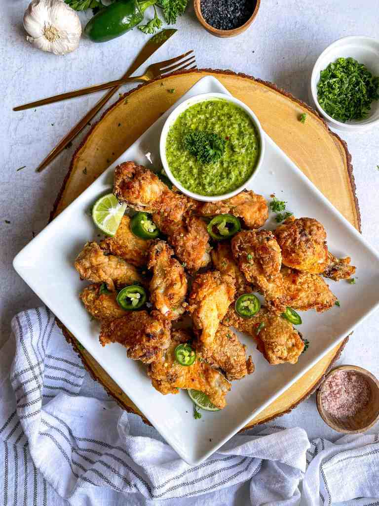 Air Fryer Fried Chicken Gluten-Free with chimichurri sauce