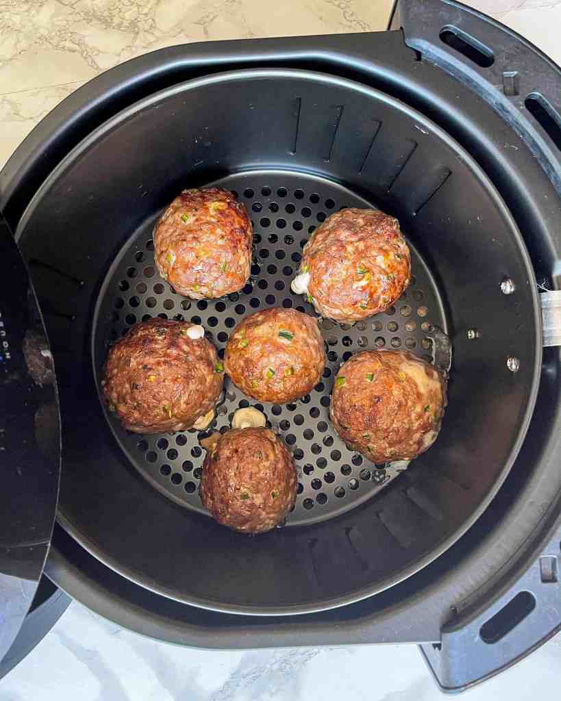 Cooked Cheese Stuffed Meatballs in the air fryer
