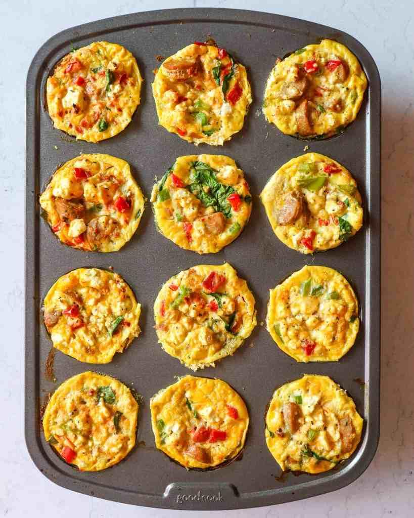 veggie spinach sausage egg muffins in muffin tin