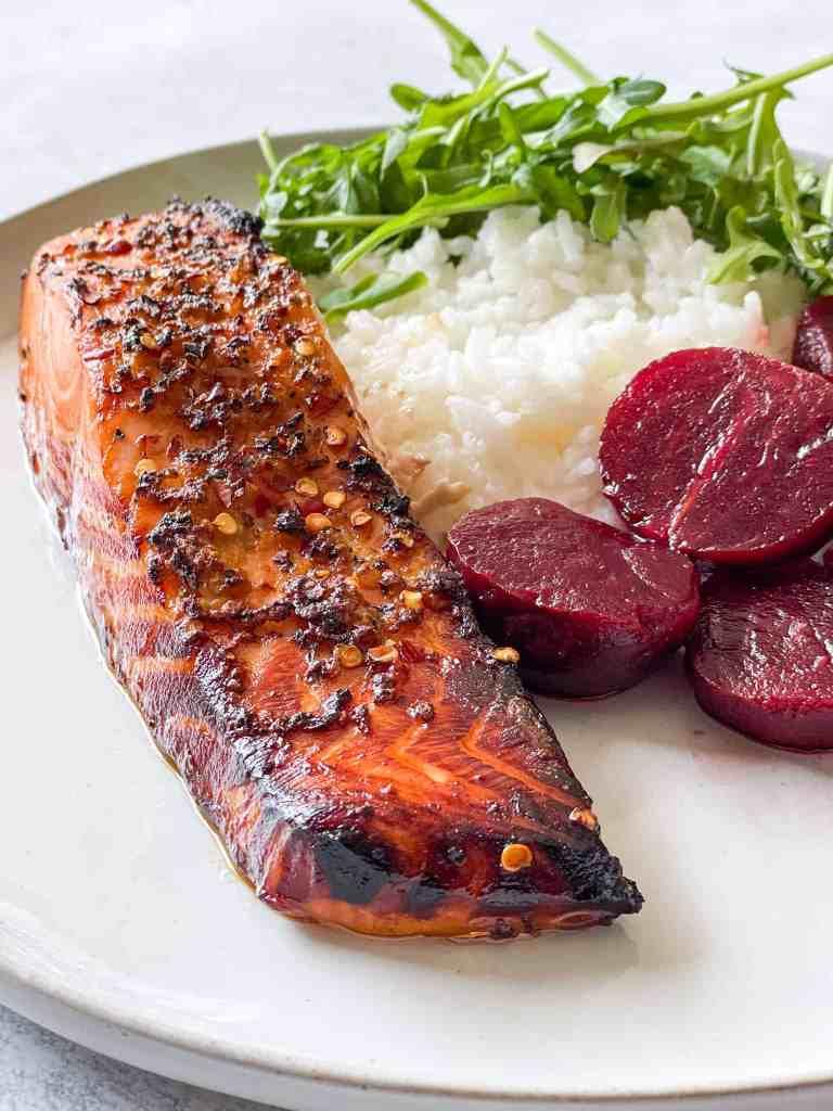 Honey Garlic Air Fryer Salmon with beets, rice, and arugula