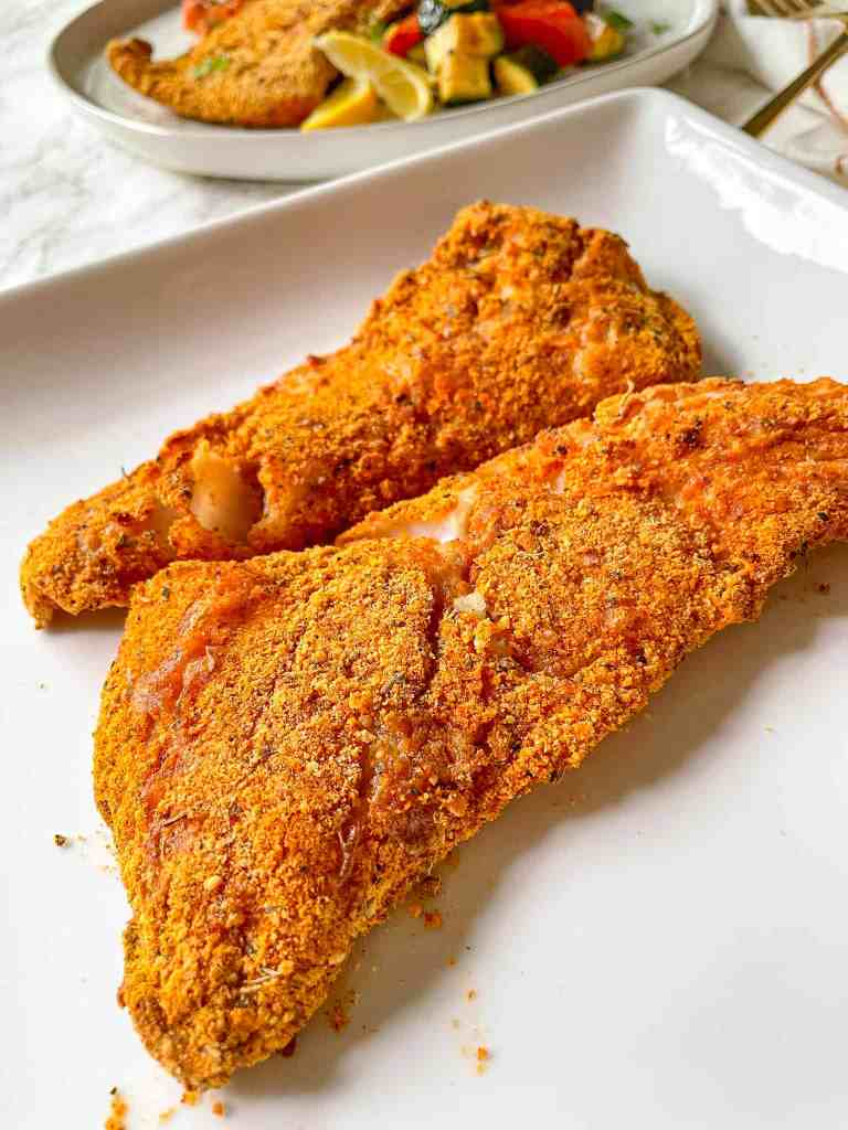 Crispy Gluten Free Air Fryer Fish close up to show texture