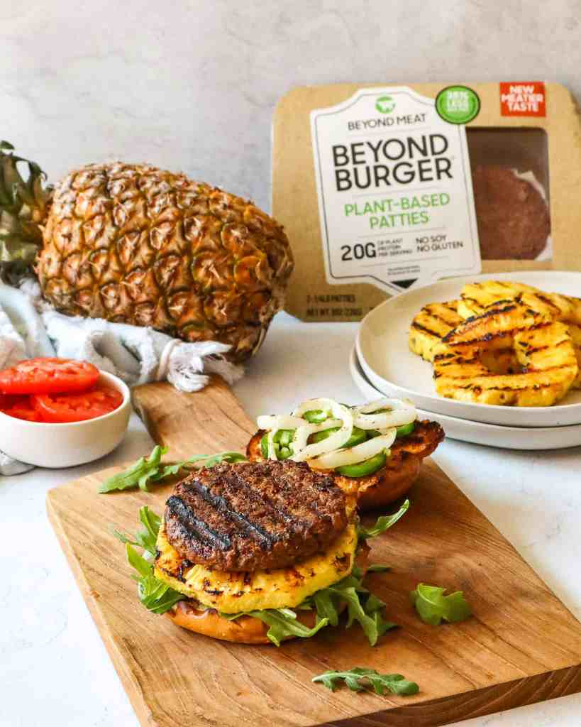 Grilled Beyond Burger With Grilled Pineapple, Gluten-Free and Plant Based
