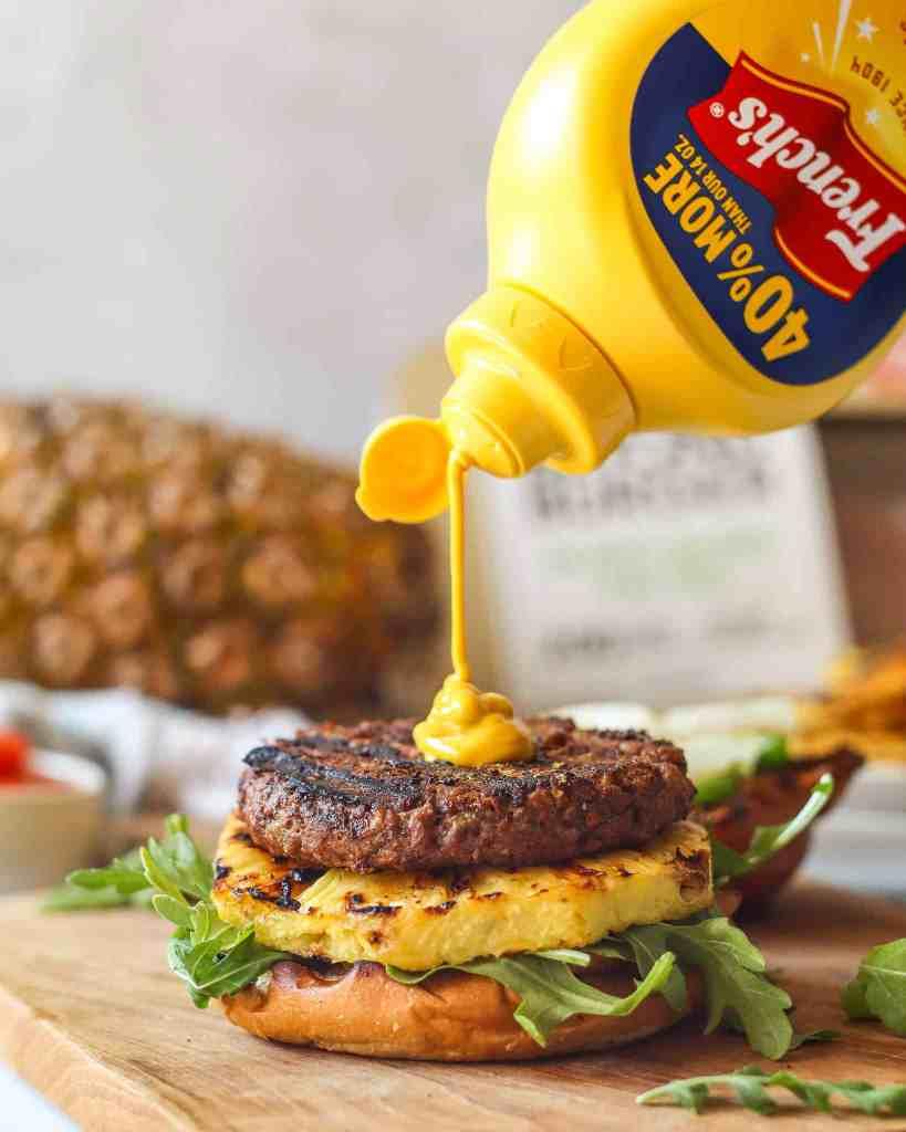 Mustard on top of beyond burger