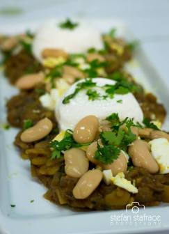 Broad beans, coriander and eggs with soft Maltese Cheeselets