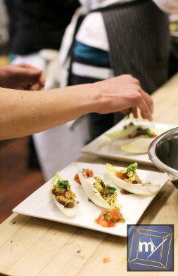 Eat 2 Feed TO - Plating the Chicken Endive Taco Appetizer
