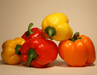 Red, yellow, and orange peppers.