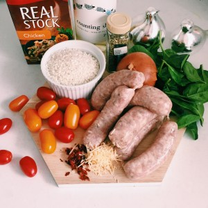 Recipe: Oven baked risotto with sausage, spinach and cherry tomatoes