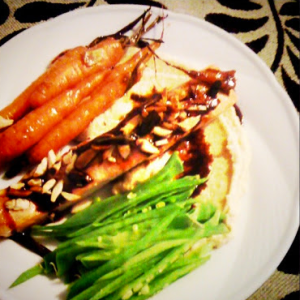 Recipe: Baked Salmon with hommus and snowpeas