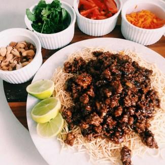 GoodFoodWeek's sticky pork and crispy noodle salad