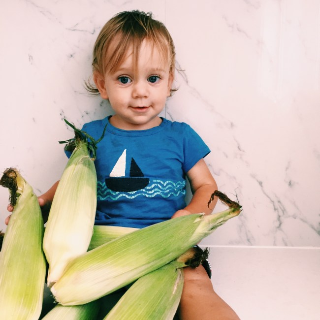 The little dude with corn from the farmer's market