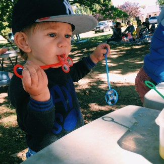 The Little Dude at Paint and Play in the park