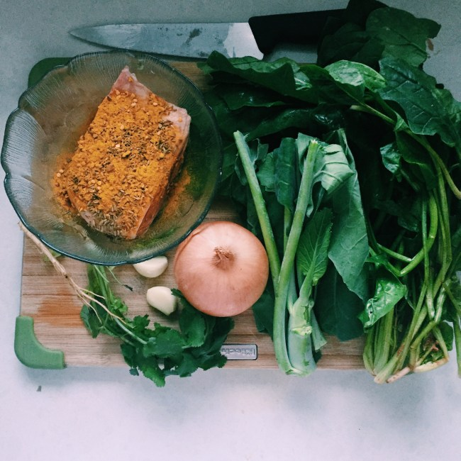 Meal prep for GoodFoodWeek's Northern Chinese Lamb with wilted greens