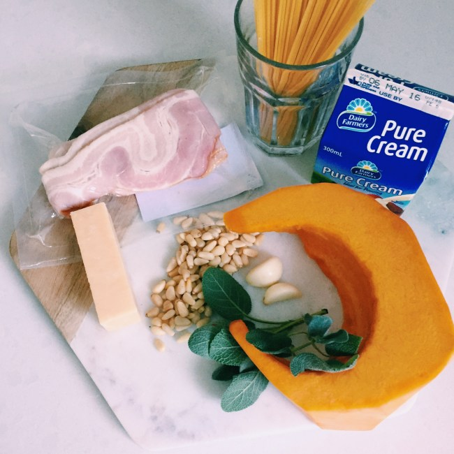 Meal Prep for GoodFoodWeek's Spaghetti Carbonara with pumpkin, pinenuts and sage