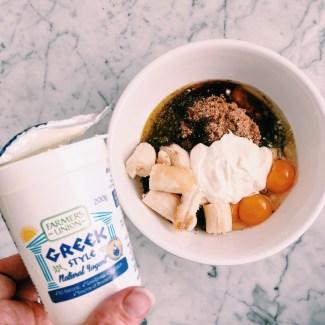 Creating choc banana bread with greek yoghurt