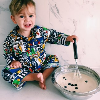 The Little Dude cooking with Mummy
