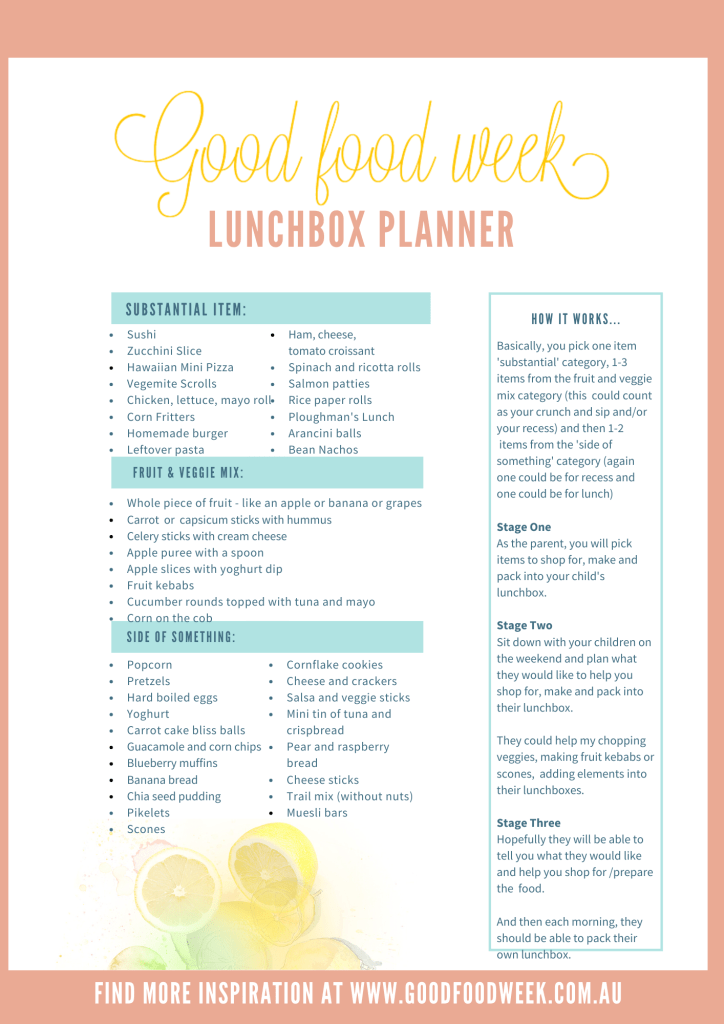 GoodFoodWeek Luncbox Planner 2020