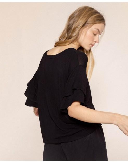 black-frills-sleeve-bamboo-t-shirt